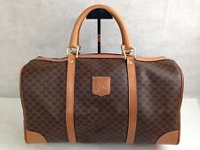 Auth Celine macadam PVC Boston Bag Brown Vintage Traveling 5H180100