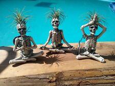 Trader Joe's Yogi Skeleton Air Plant Planter Yoga Skulls Set Of 3