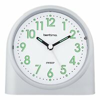 Bentima Silver Sweeper One Non-Tick Alarm Clock Silent By Acctim 14707
