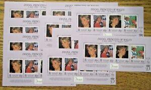 "Falkland Islands ""Princess Diana"" Themed Lot of10 Souvenir Stamp Sheets MNH OG"