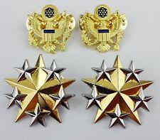 SET US ARMY OFFICER SHOULDER SIX STAR RANK INSIGNIA BADGE PIN EAGLE BADGE