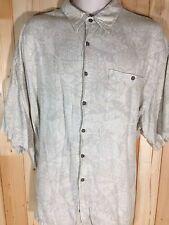 Moda Campia Moda Button Up Short Sleeve Hawiian Shirt Beige Floral Pineapple XXL