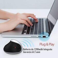 Mouse ottico verticale wireless 15 M con batteria ricaricabile inclusa 2400 DPI