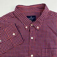 American Eagle Button Up Shirt Mens XL Salmon Blue Check Long Sleeve Casual