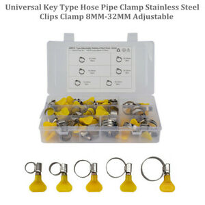45Pcs 8MM-32MM Adjustable Universal Car Hose Pipe Clamp Stainless Clips Clamp