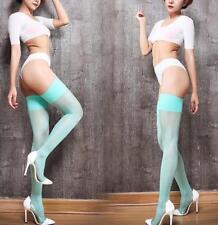 Lady Sexy Nylon Glossy Coffee Wide Border Oil Thigh Stocking 15D High Socks