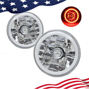 "5.75 inch 5 3/4"" Round Red Halo Angel Eyes Diamond Cut Clear Lens Headlights"