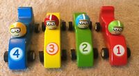 Lot Of 4 Wooden Race Cars With Drivers Toy