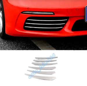 6PCS Front Fog Lamp Decor Strip Trim For Porsche 718 Boxster Cayman 2016-2019