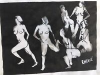 Peinture Gouache Sur Papier Evelyne Herve Noir Et Blanc Nu Femme Erotique