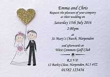 50 Handmade Personalised Wedding Invitations Day/Evening - Free Sample Proof!
