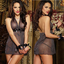 Hot&Sexy Perspective Net Yarn Black Bowknot Nightgown Lingerie