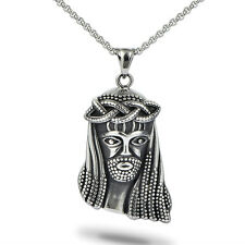 religious stainless steel necklace mini jesus piece hip hop jewelry black/white