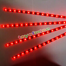 4X 15 LED 30cm Grill Luz SMD Car Auto tira flexible impermeable la lámpara Roja