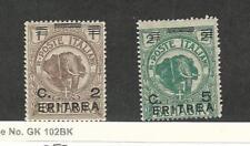 Eritrea (Italy), Postage Stamp, #58-59 Mint Hinged, 1922 Elephant