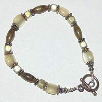 Handmade beaded labradorite, satin glass, green faux pearl toggle clasp bracelet