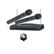 Pro Dual Wireless Cordless DJ Karaoke Public Address Mic Microphone System Rlak