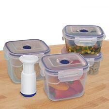 9-pcs Vacuum Food Storage Containers, Rectangular,Blue