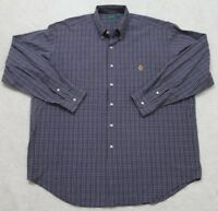 Ralph Lauren Dress Shirt XL Extra Large Long Sleeve Blue White Men's Cotton 1-36