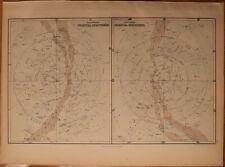 "1856 Black's Celestial Hemisphers - North & South - Map 17.2"" x 12.6"" - Antique"