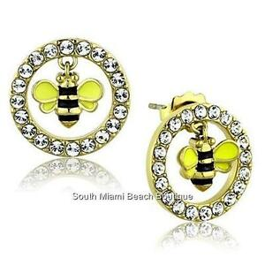 Bumble Bee Hypoallergenic Earrings Posts Stainless Steel Crystal Black Yellow