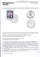 ITALIA 2000 TRANSPLANTATION SOCIETY BOLLETTINO COMPLETO DI FRANCOBOLLI FDC