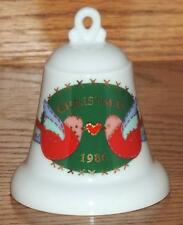 "Christmas 1986 Hallmark Cards Fine Porcelain ""Grandparents"" Bell Ornament 3.5""h"
