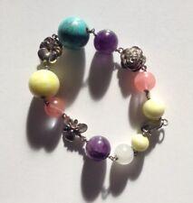 Pretty 5 Spring Colours Bracelet 9 Semi Precious Beads 3 Silver Flower 925 Clasp
