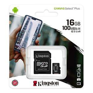 Kingston 16GB/32GB/64GB/128GB Micro SD card with Adapter Canvas Select Plus-UK