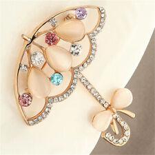 Opal and Rhinestone Umbrella Brooch Pin Cute Korea Style Brooches for Women