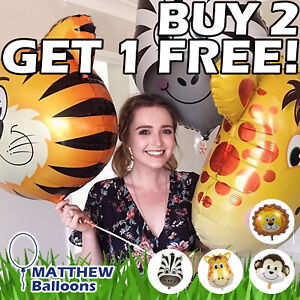 Animal Balloons HELIUM /AIR Lion Zebra Giraffe Monkey Tiger Fox Horse Cow Jungle