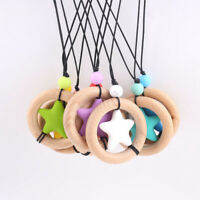 Beech Wood Ring Star Silicone Beads Baby Teething Chewable Necklace Jewelry Toy