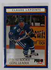 1992-93 Pro Set Hockey; Claude LaPointe 12 of 12; Rookie Goal Leader; Nordiques