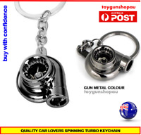 TURBO KEYCHAIN KEYRING GUNMETAL TURBOCHARGER  SPINNING TURBO KEYRING CAR PART
