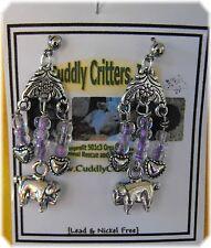 Tibetan Silver Stand Pig purple Dangle Earrings Made in the USA -boar/hog/heart