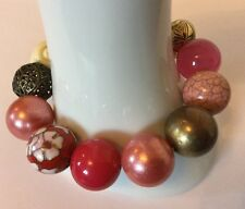 Chunky Beaded Bracelet Pink Cream Red Cloisonné Bronze Acrylic Stretchy Bangle