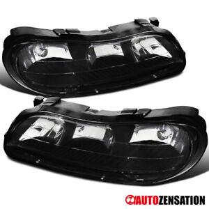 Chevy 1997-2003 Malibu 2004-2005 Classic Black Clear Lens Headlights Lamps Pair