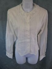 Vintage Laura & Jayne Blouse Size 8 Lace Collar Tie Back French Cuffs Pleated