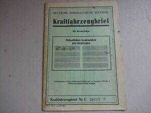 MZ VEB ORIGINAL DDR KFZ BRIEF TS 250 1. HAND 1973 NICHT ENTWERTET ECHTE PAPIERE