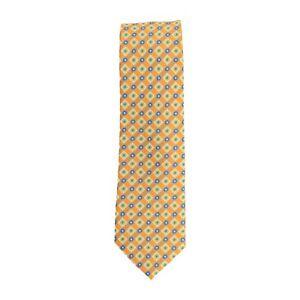 Krawatte schmal Clubkrawatte Polyester Orange Rauten- und Kreismuster 6 cm
