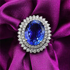 BEAUTIFUL NEW! SOLID 18K WHITE GOLD DIAMOND 100% NATURAL VS AAA TANZANITE RING