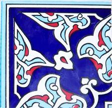 "Navy & Red 4""x4"" Ottoman Iznik Carnation Pattern Ceramic Tile Border CORNER"