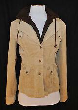 BOHO CHIC Tan Corduroy Faux Layering Brown Hooded Hoodie Jacket Blazer SzS