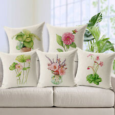 "18"" Green Plant Floral Leaves Pillow Case Cotton Cushion Cover Car Home Decor"