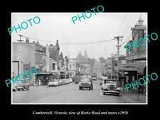 OLD 8x6 HISTORIC PHOTO OF CAMBERWELL VICTORIA VIEW OF BURKE RD & STORES 1950 2