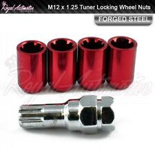4x Toyota GT86 Subaru BRZ Tuner Locking Wheel Nuts Red M12x1.25 Slim Drive