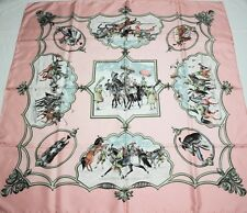 "Authentic Hermes Scarf 100% Silk Paris France  ""Les Chevaux Des Moghols"" signed"