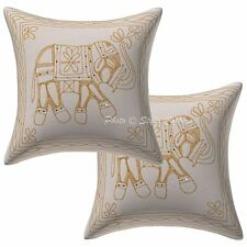 Indian Mirror Embroidered Cotton Pillow Case Cover Handmade Cushion Cover New