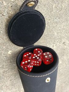 Dice Cup Black Leatherette and 5 Poker Dice With Storage Compartment