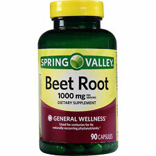 Spring Valley Beet Root Capsules,General Wellness 1000 mg, 90 ct Exp 8/2020